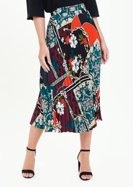 Soon Scarf Print Pleated Midi Skirt