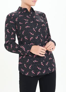 Black Candy Cane Christmas Blouse