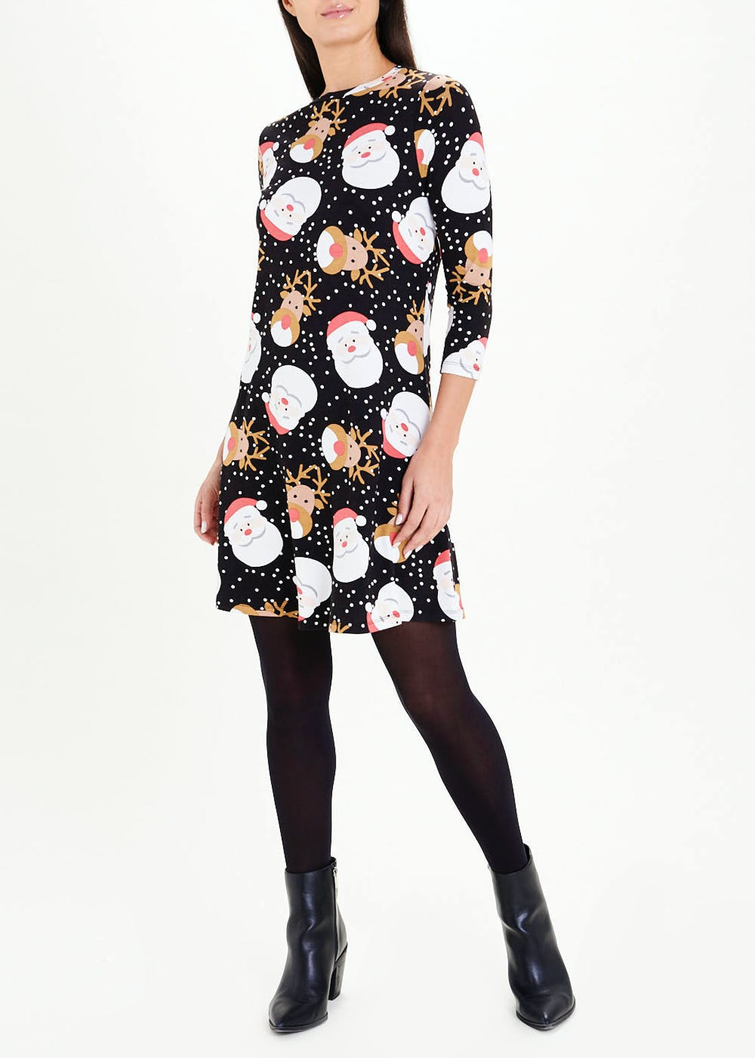 Black 3/4 Sleeve Christmas Jersey Swing Dress