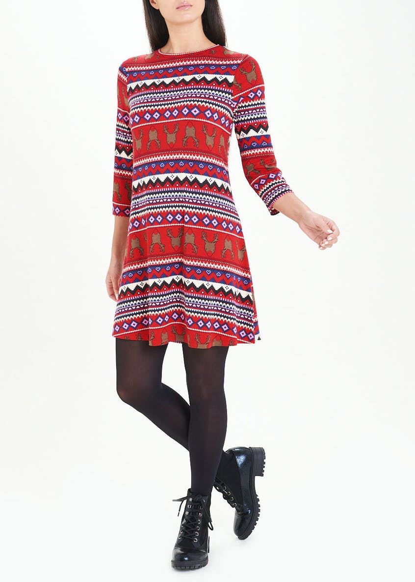 Red 3/4 Sleeve Christmas Jersey Swing Dress