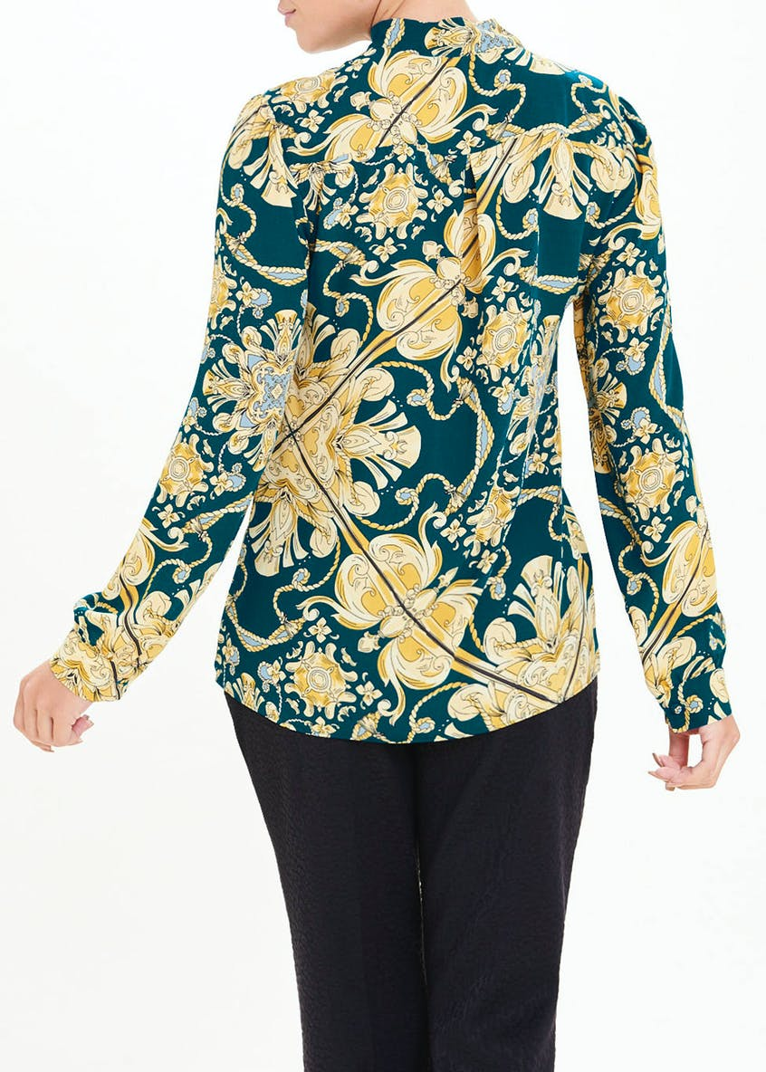 Soon Teal Long Sleeve Scarf Print Pussybow Blouse
