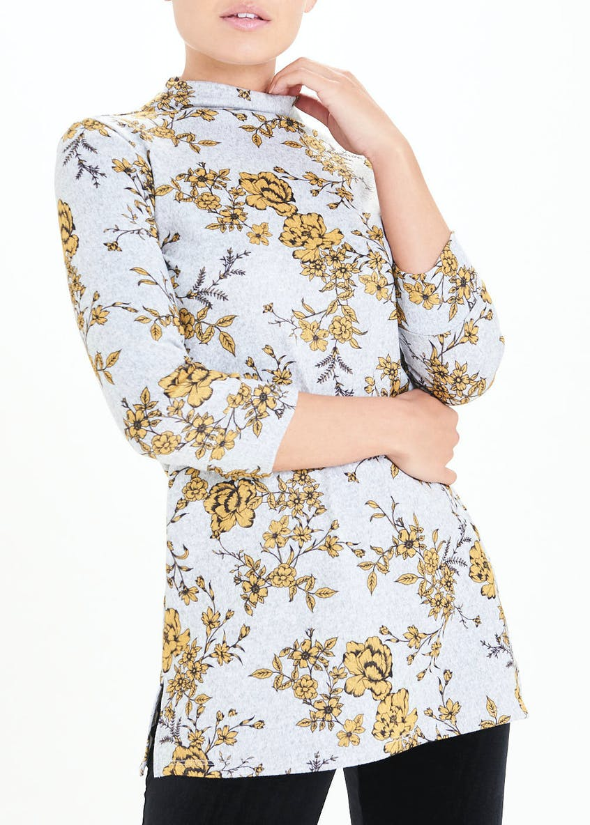 3/4 Sleeve Floral High Neck Top