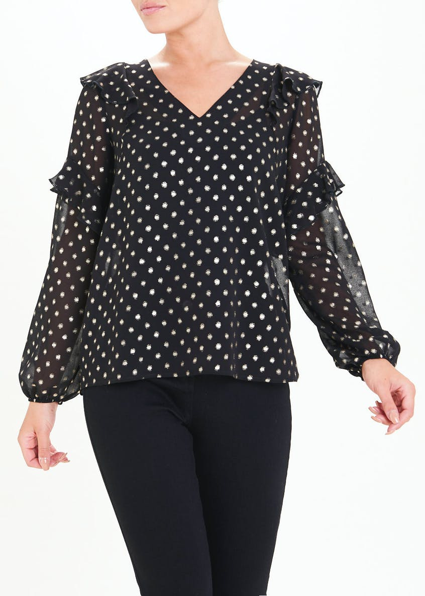 Black Long Sleeve Metallic Spot Ruffle Blouse