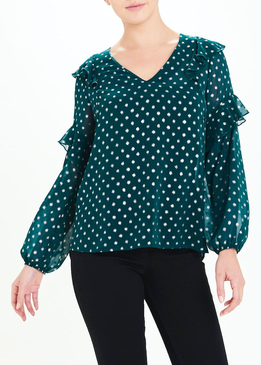 Teal Long Sleeve Metallic Spot Ruffle Blouse