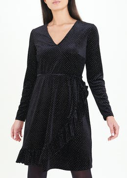 Black Long Sleeve Velvet Dot Wrap Dress