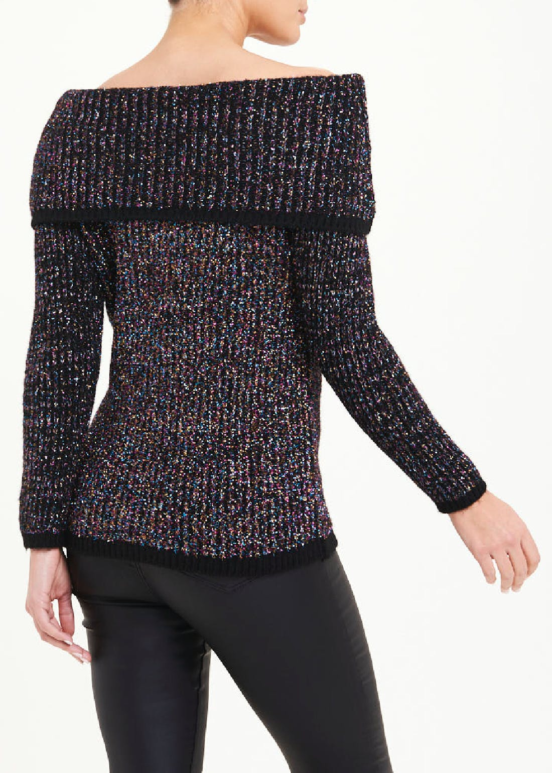 Ribbed Sparkle Bardot Jumper