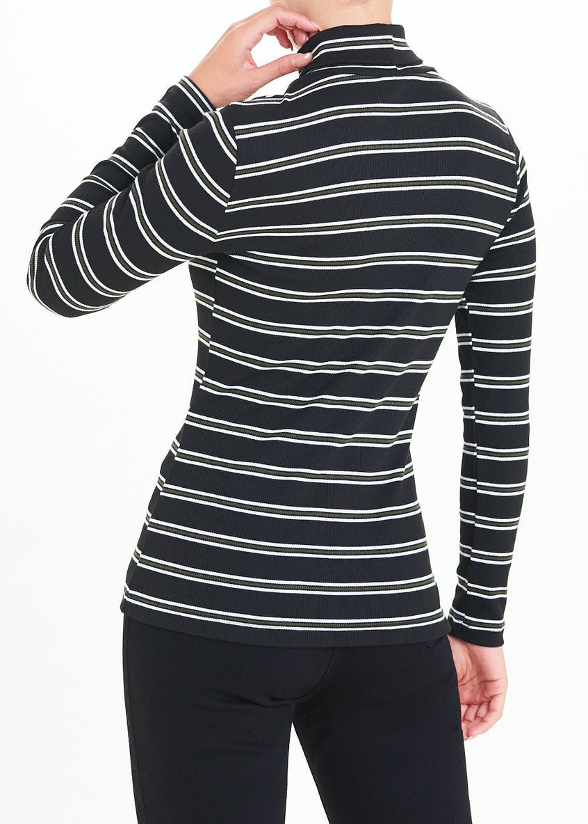 Long Sleeve Stripe Ribbed Roll Neck Top
