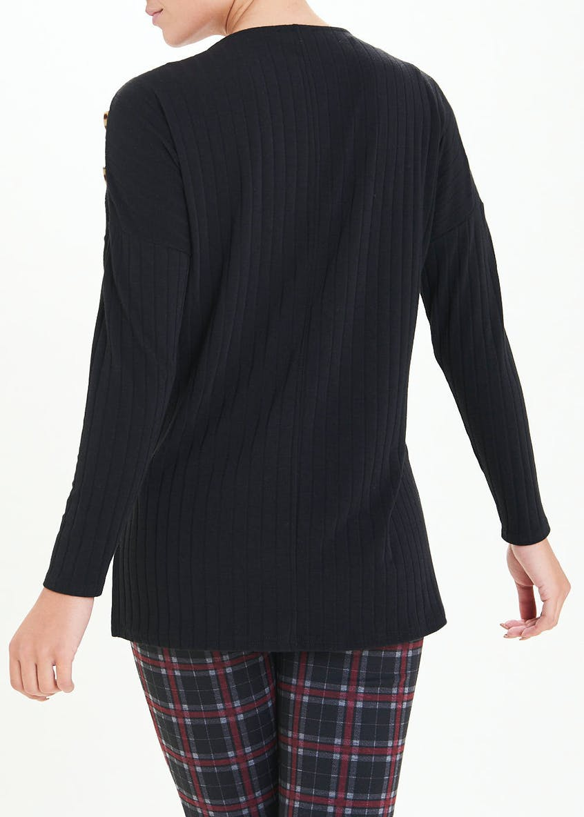 Long Sleeve Ribbed Button Detail Top