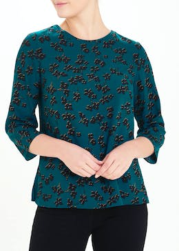 Teal Floral Print Woven Top