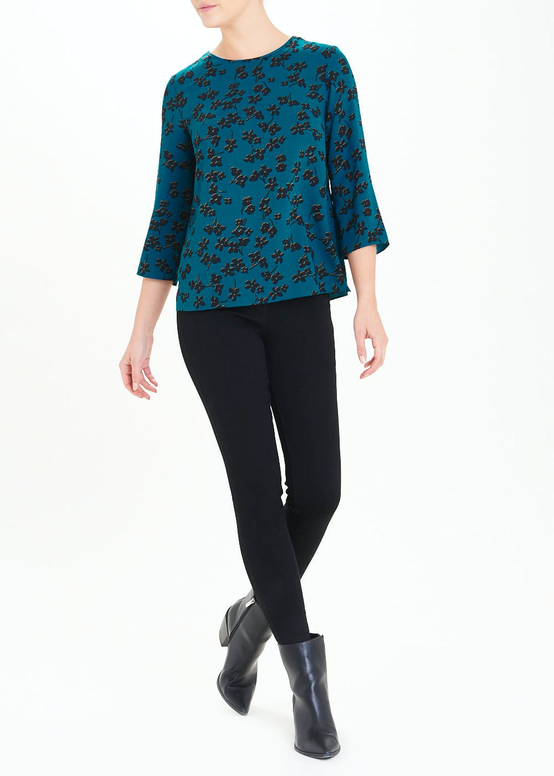 3/4 Sleeve Teal Floral Woven Top