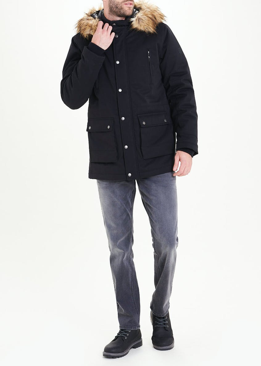 Morley Black Showerproof Parka Coat