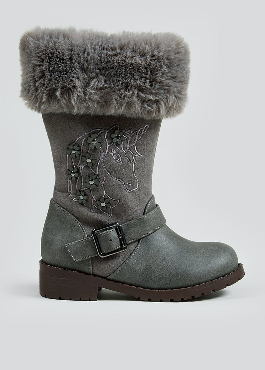 Girls Grey Unicorn Furry Knee Boots (Younger 4-12)