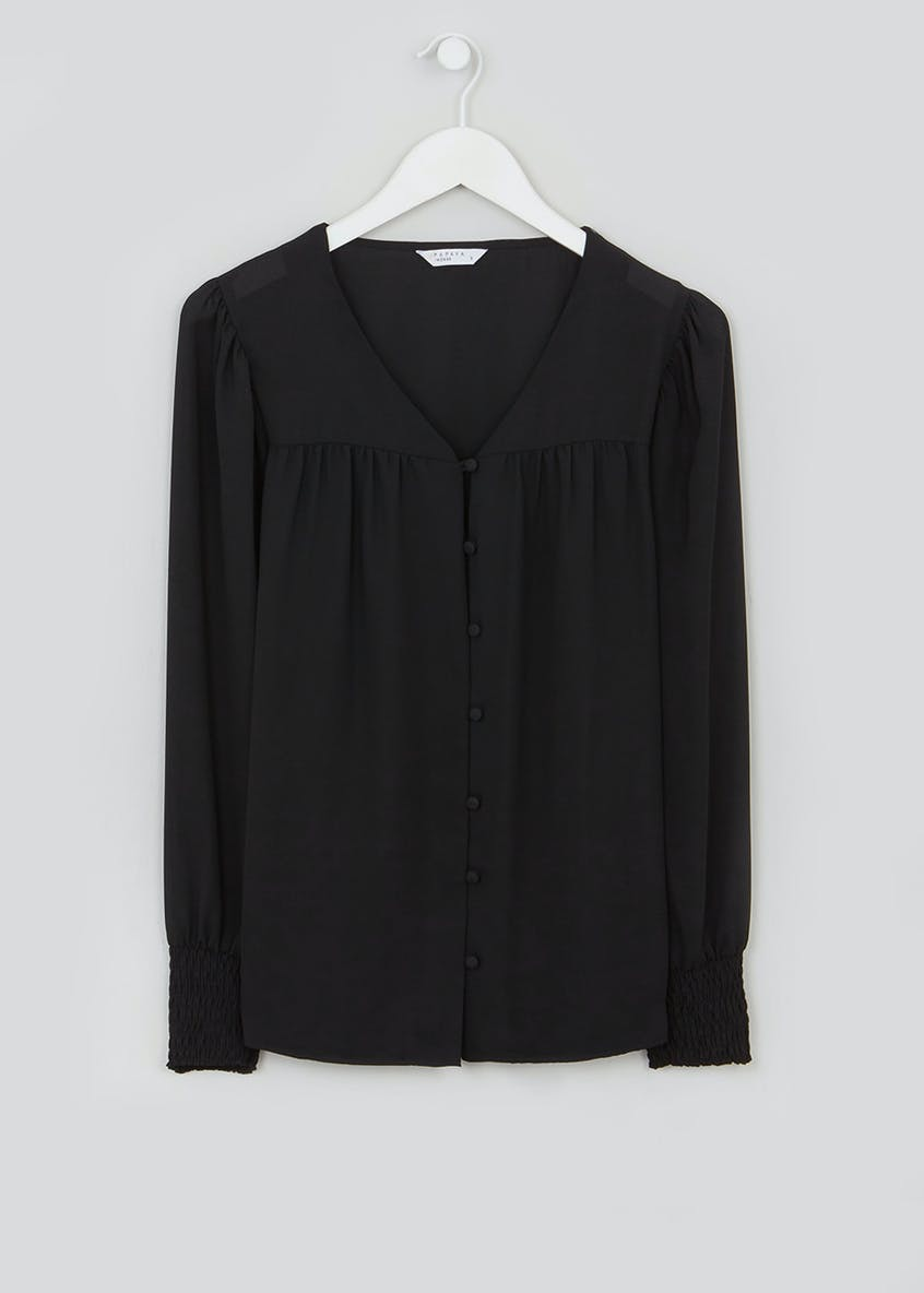 Black Shirred Cuff Button Blouse