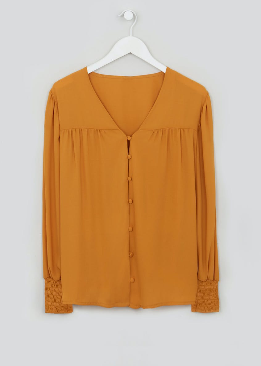 Shirred Cuff Button Blouse