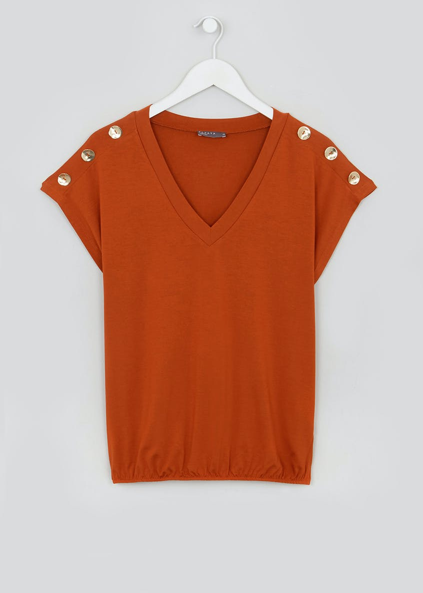 Short Sleeve V-Neck Button Shoulder Top