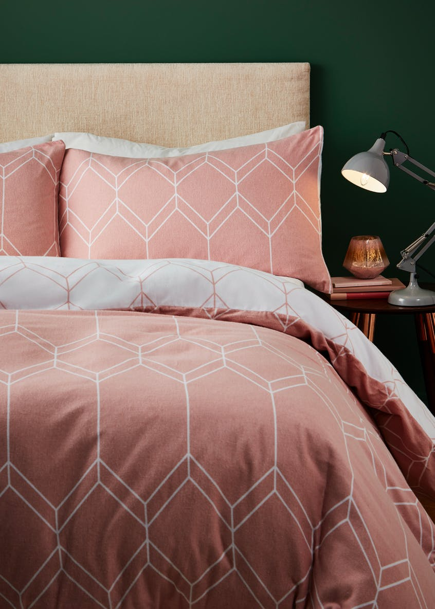 100%  Brushed Cotton Geometric Duvet Cover