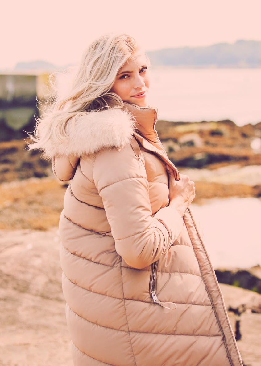 Beige Chevron Padded Hooded Coat