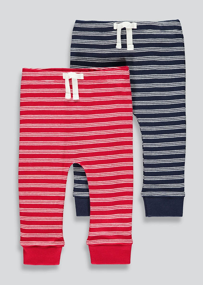 Unisex 2 Pack Stripe Joggers (Tiny Baby-18mths)