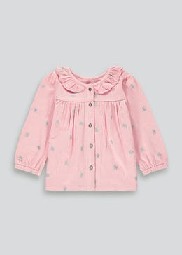 Girls Crown Print Crinkle Long Sleeve Top (9mths-6yrs)