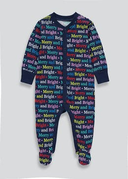 Unisex Merry and Bright Christmas Baby Grow (Tiny Baby-23mths)