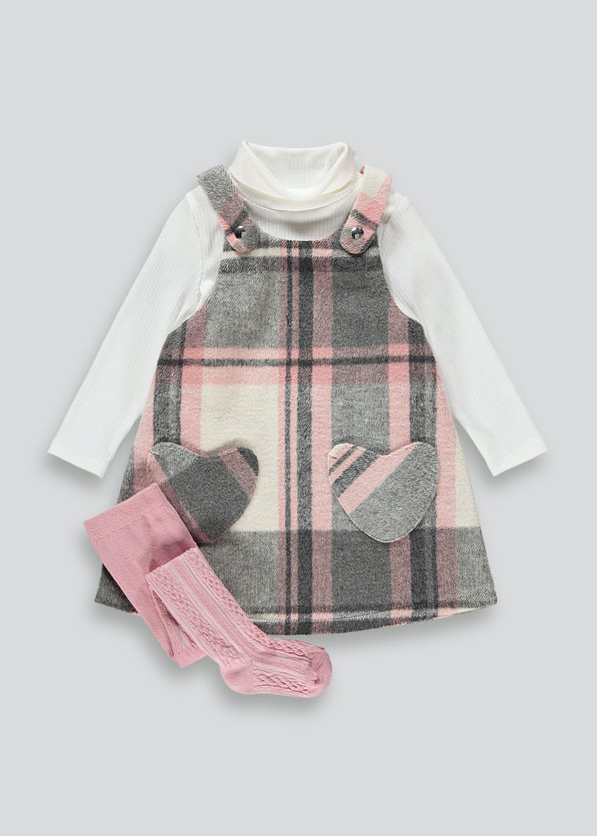 Girls 3 Piece Check Pinafore Set (4-13yrs)