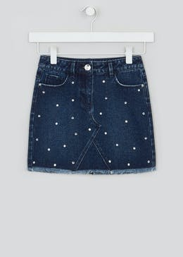 Girls Diamante Denim Skirt (4-13yrs)