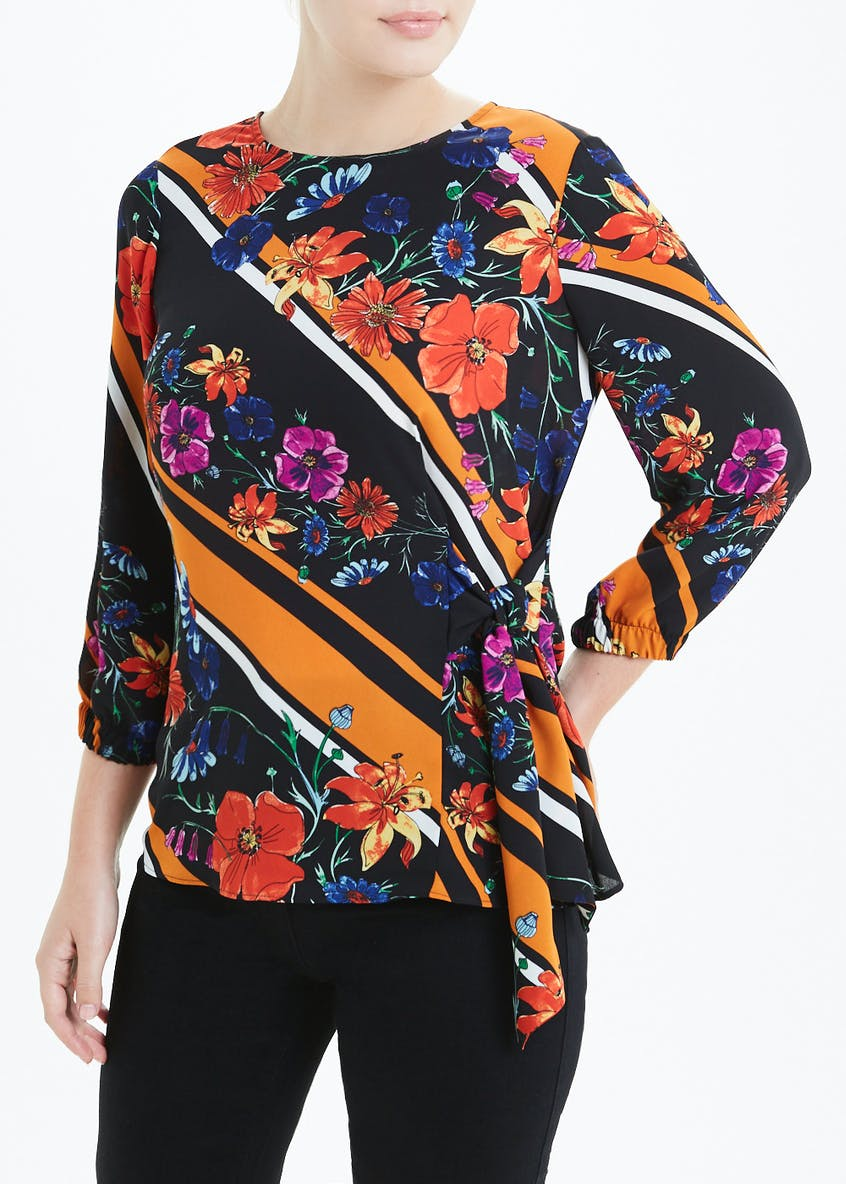 Soon Rust Long Sleeve Floral Tie Front Blouse