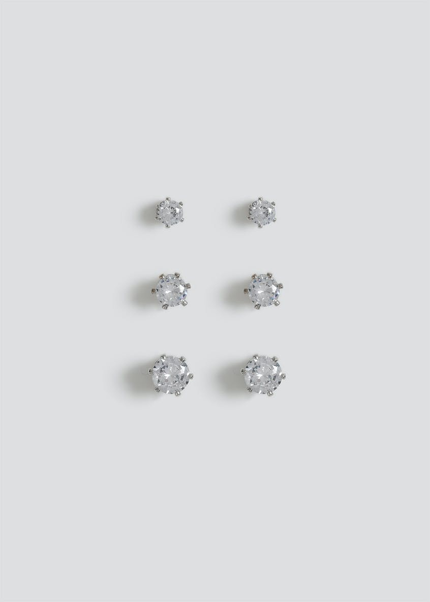3 Pack Cubic Zirconia Stud Earrings