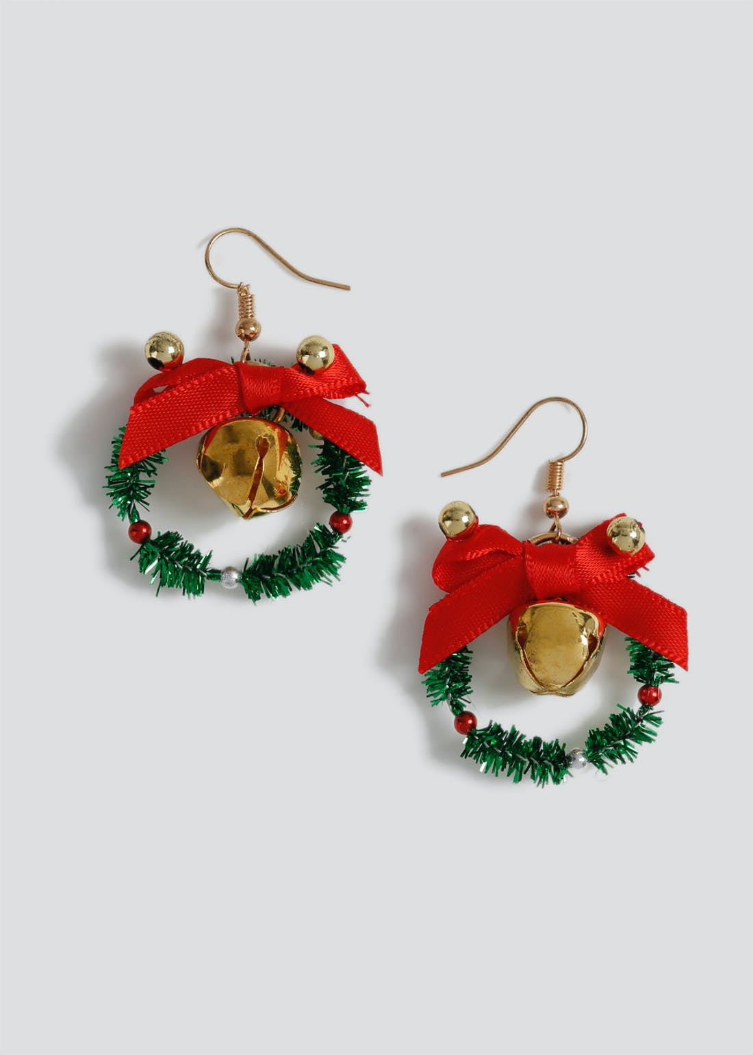 Tinsel Bell Wreath Christmas Earrings