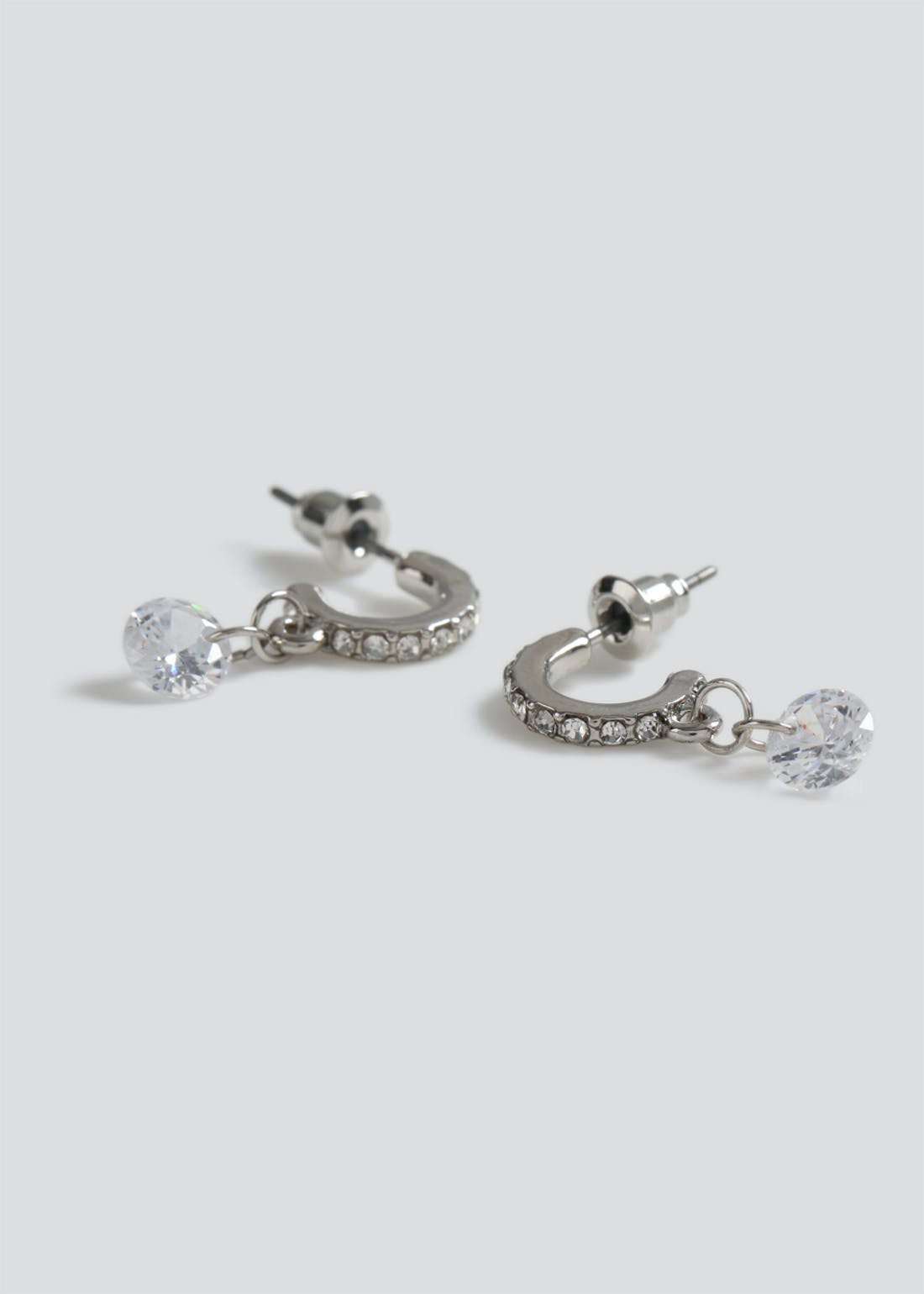 Cubic Zirconia Hoop Drop Earrings