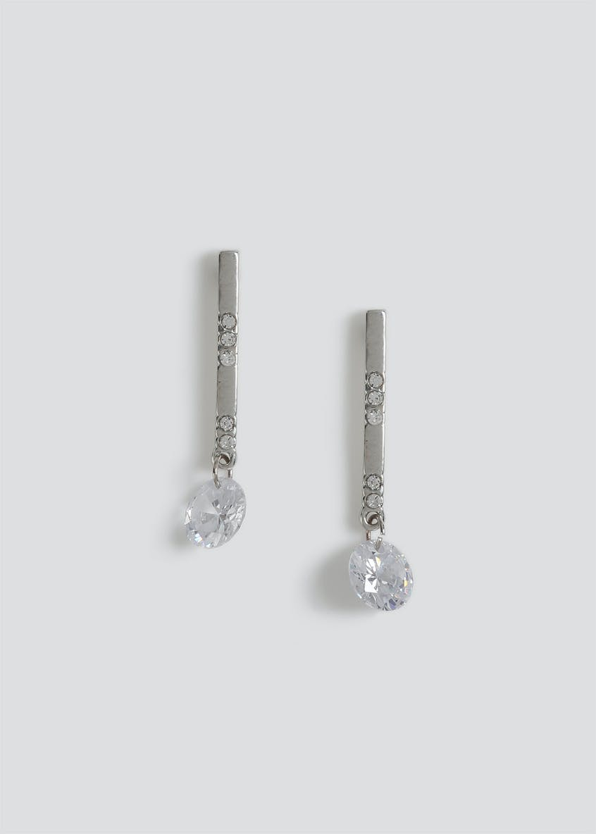 Cubic Zirconia Stick Drop Earrings