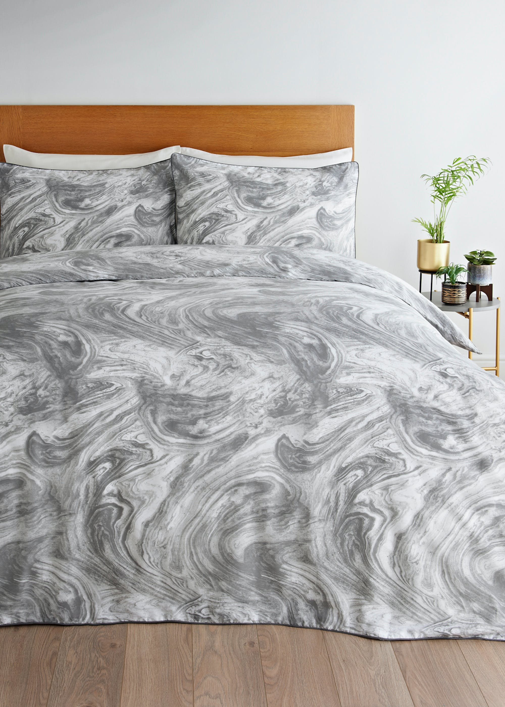 Marbled Reversible Duvet Cover Grey Di2ug9