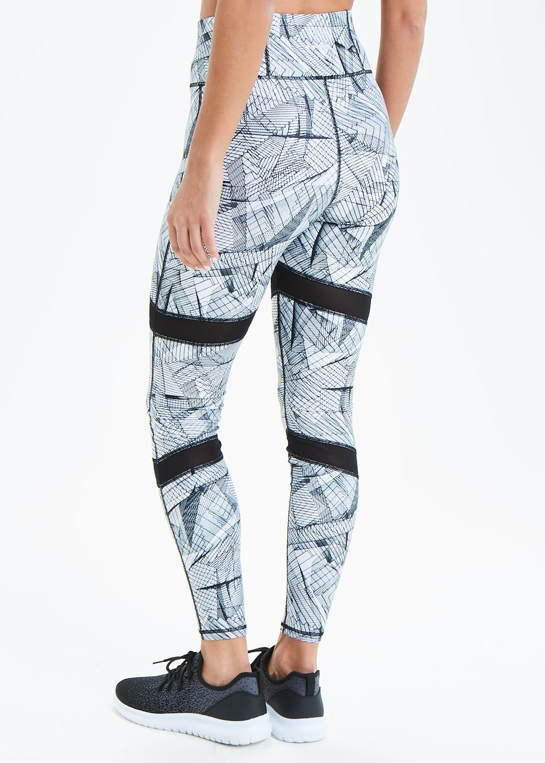 Souluxe White Cage Print Gym Leggings
