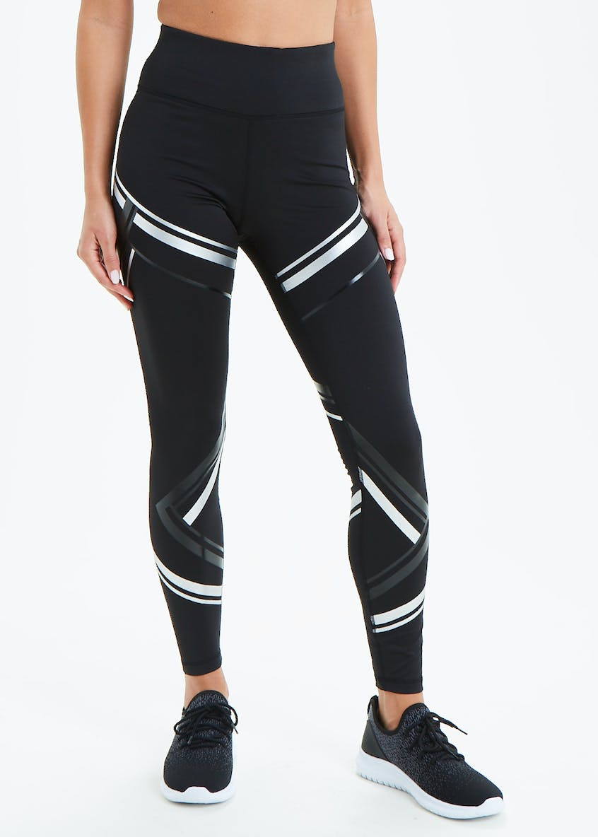 Souluxe Black Metallic Stripe Gym Leggings