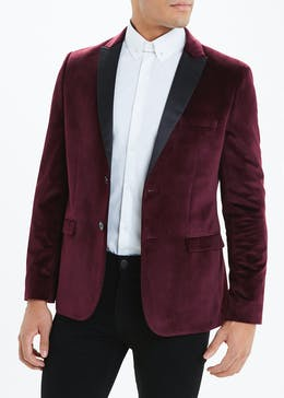 Taylor & Wright Burgundy Fairfield Velvet Blazer