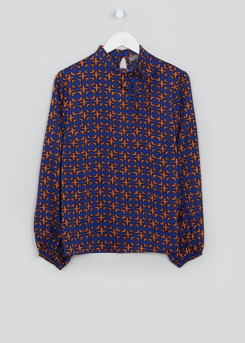 Navy Long Sleeve Geo Pussybow Blouse