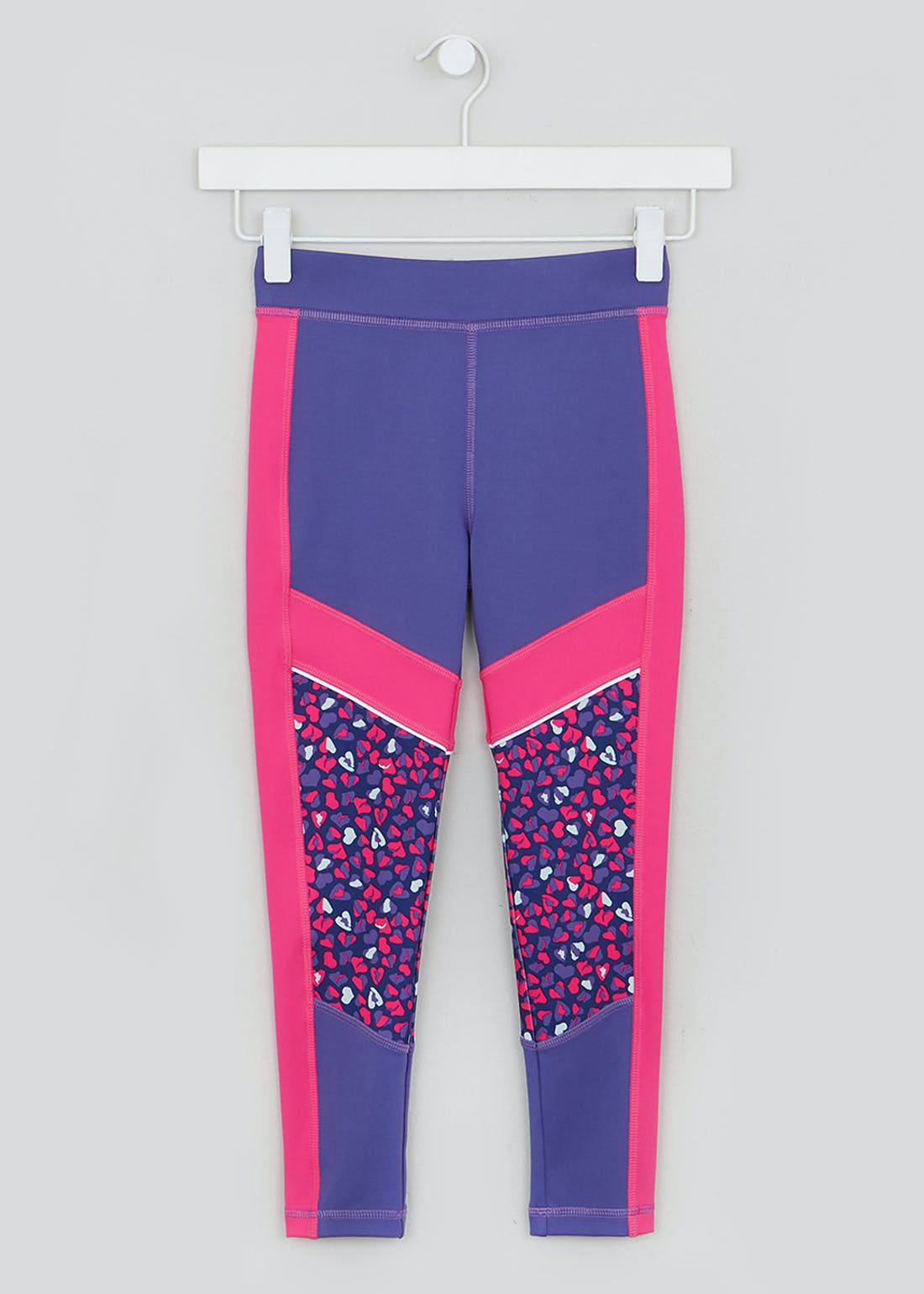 Girls Souluxe Purple Heart Sports Leggings (4-13yrs)