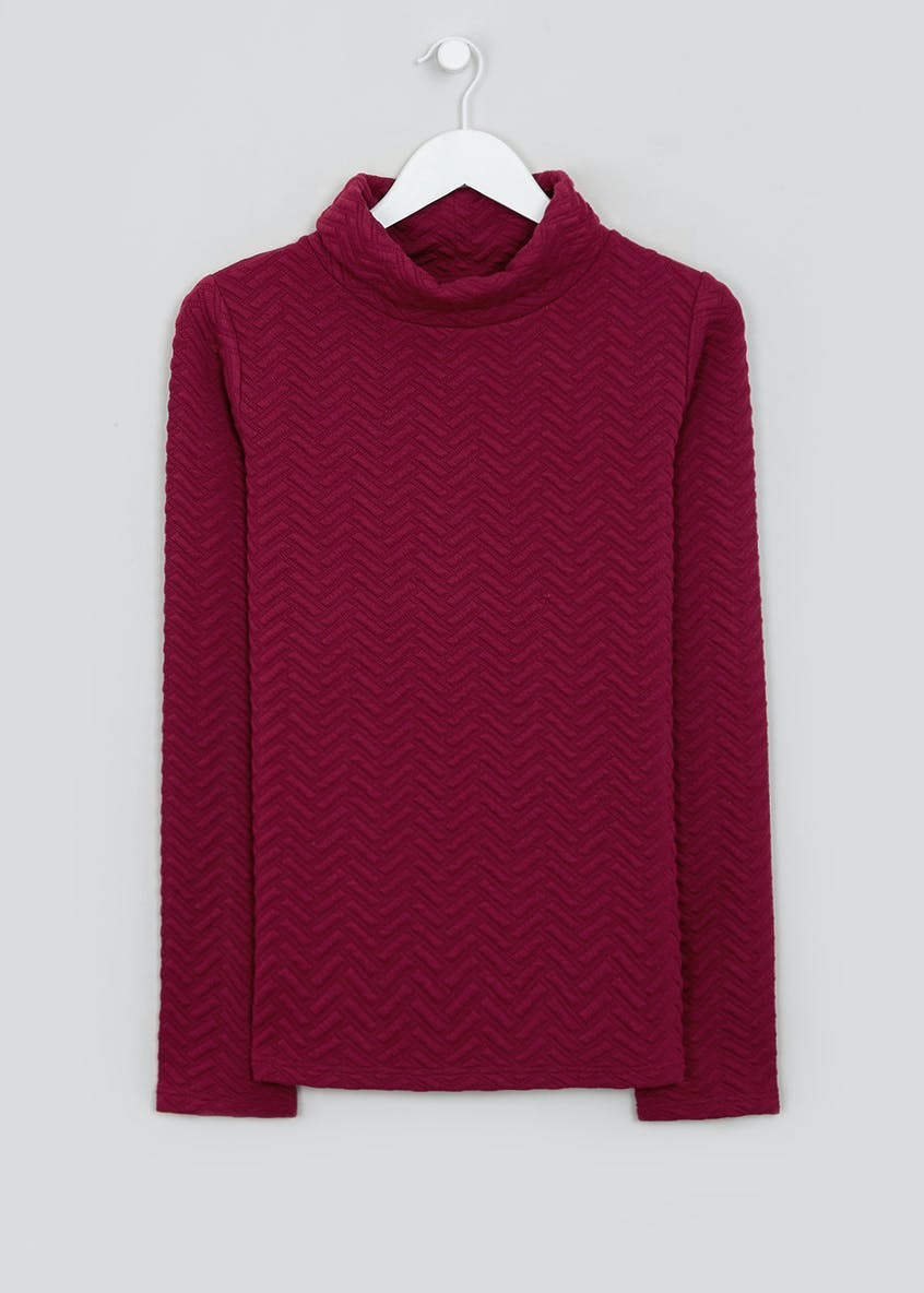 Souluxe Pink Chevron Cowl Neck Fleece