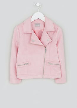 Girls Pink Faux Suede Biker Jacket (4-13yrs)