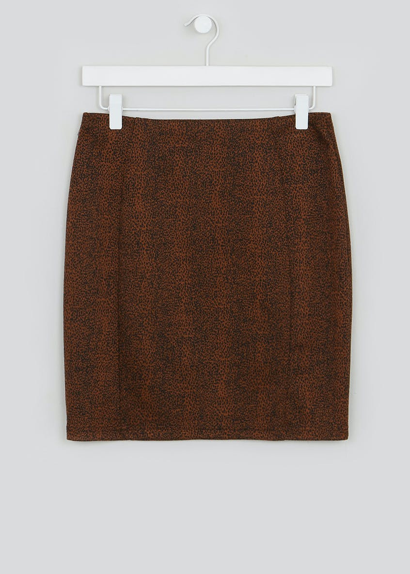 Textured Animal Print Mini Skirt
