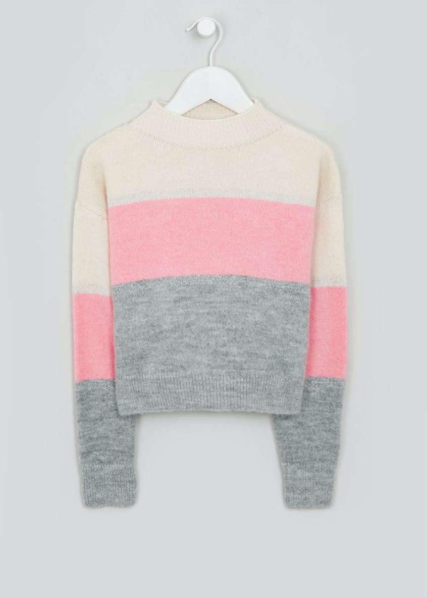 Girls Candy Couture Colour Block Knitted Jumper (9-16yrs)