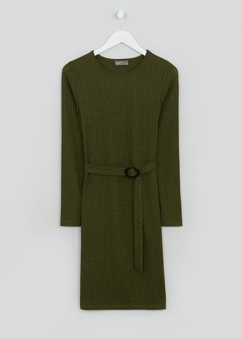 Khaki Long Sleeve Ribbed Belted Mini Dress