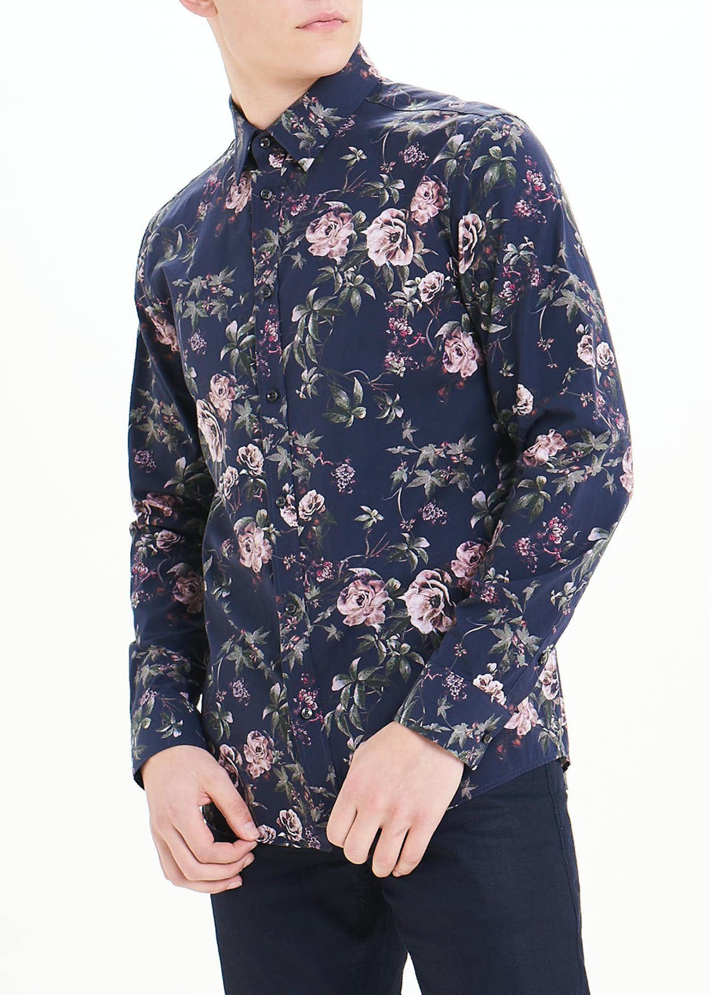 Easy Black Label Slim Fit Floral Long Sleeve Shirt