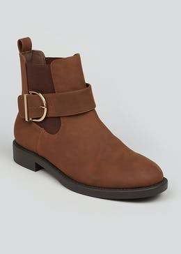 Brown Buckle Ankle Boots