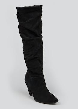 Black Real Suede Slouch Knee Boots