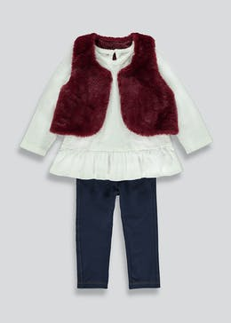 Girls 3 Piece Gilet Top & Leggings Set (9mths-6yrs)