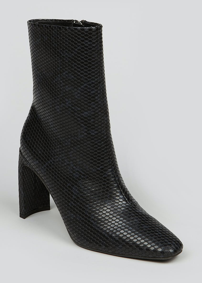 Black Faux Snake Skin Pointed Ankle Boots