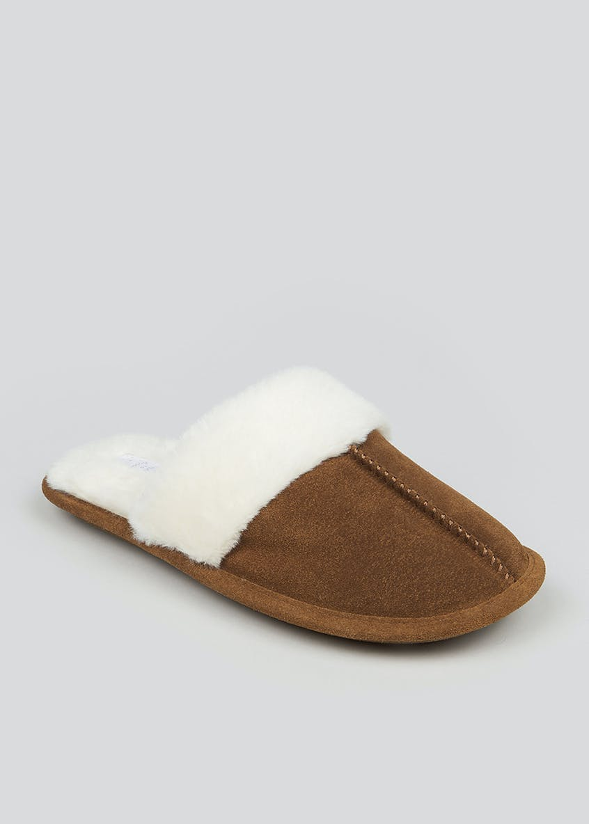 Real Suede Faux Fur Lined Mule Slippers