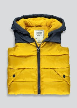 Boys Yellow Dinosaur Hooded Gilet (9mths-6yrs)