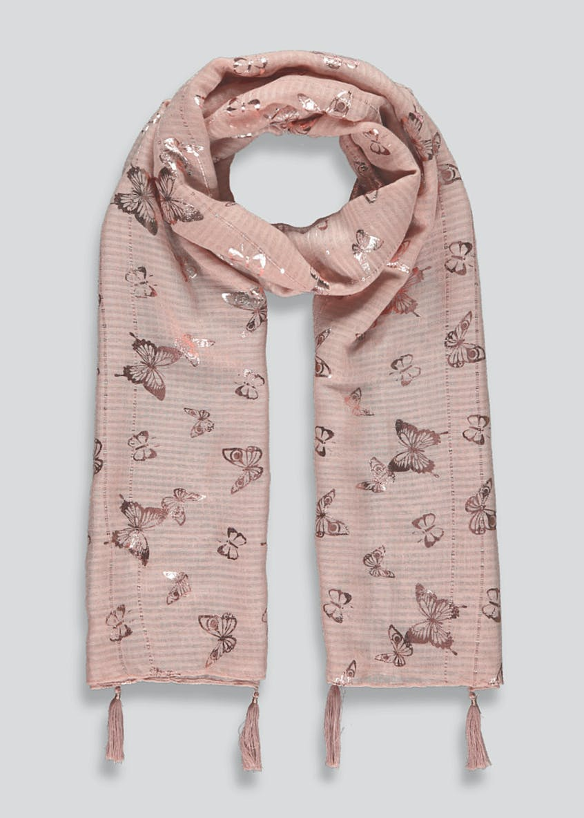 Butterfly Print Woven Scarf